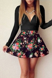 Black Sweet Plunging Neck Floral Skater Dress