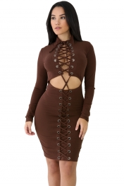 Brown Lace-up Corset Cut Out Long Sleeve Dress