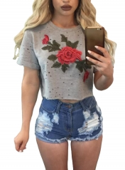 Grey Embroidered Flower Broken Hole Crop Top