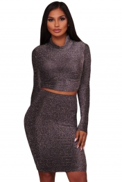 Black Silver Shimmer Two Piece Dress