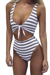 Grey White Striped Cutout Tie Front Beach Monokini