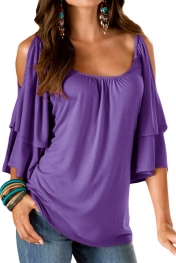 Purple Layered Sleeves Ruffled Off Shoulder Blouse