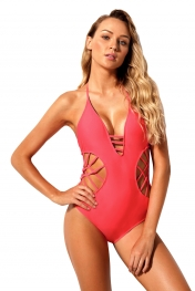 Rosy Strappy Cutout Halter One Piece Swimsuit
