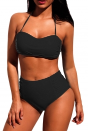 Black Subtle Ruched Halter Bikini High Waist Swimsuit