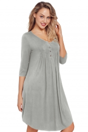 Grey Quarter Sleeve Casual Tunic Dress