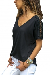 Black V Neck Lace Splicing Short Sleeve Shirt