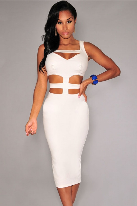 8f9887649 Cheap White Cut-out Peep-hole Midi Dress online - All Products ...