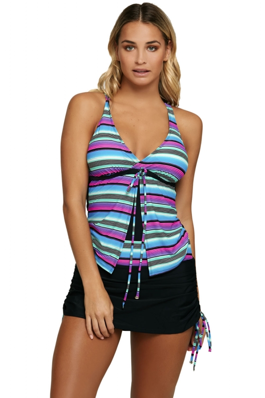 9394147851 Cheap Multi Striped Tankini and Skirtini Swimsuit online - All ...