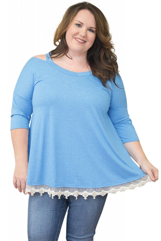 Cheap Light Blue Cold Shoulder Lacy Hem Plus Size Blouse Online