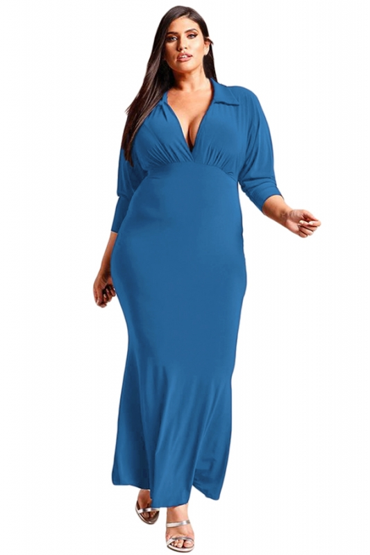Cheap Navy Blue Plus Size Collared Deep V Maxi Dress online - All ...