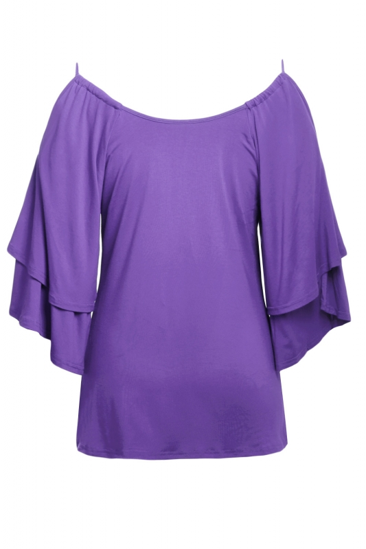 1802124e266b Cheap Purple Layered Sleeves Ruffled Off Shoulder Blouse online ...